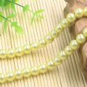 Beads, Glass Imitation pearls, Glass, Yellow , Round shape, Diameter 8mm, 18 Beads, [FZZ0033]